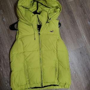 Hollister lime green womens puffer vest